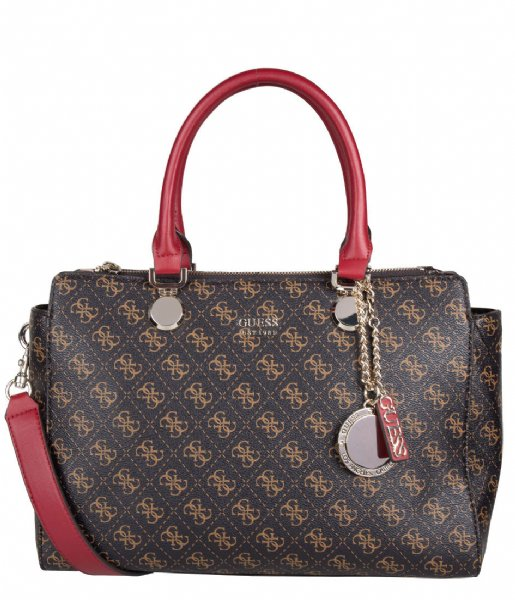 Aline Society Satchel brown multi Guess | The Little Green Bag