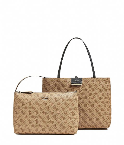 Bobbi Inside Out Tote coal brown Guess | The Little Green Bag