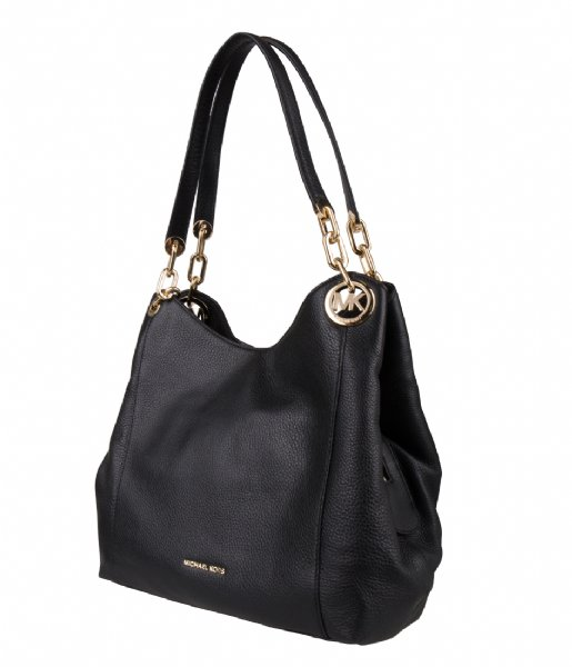 Fulton Large Charm Shoulder Tote black & gold hardware Michael Kors | The Little Green Bag